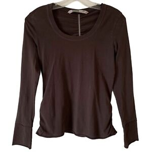 Athleta Size S Brown Top Stretch Long Sleeve Shirt Scoop Neck Organic Cotton