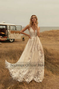 New Lace V Neck Sleeveless Bridal Gown Appliques White/Ivory Beach Wedding Dress