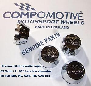 4 Genuine CHROME wheel Centre Caps COMPOMOTIVE alloys MO TH2 TH ML Ford Etc
