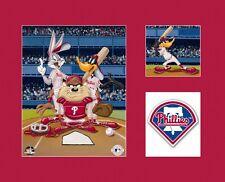 Looney Tunes Philadelphia PHILLIES Bugs Taz Daffy Baseball Litho Art Red Mat