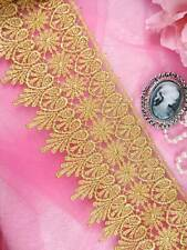 "C182 Gold Metallic Shimmering Hearts Victorian Venice Lace Trim 4"""