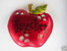 Brooch Pin TEACHER APPLE BACK TO SCHOOL Red Silver Tone White Rhinestone  CUTE!