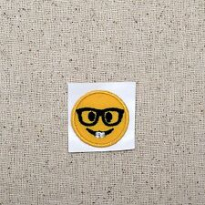 SMALL Smiley Face Emoji - Nerd Glasses - Iron on Applique/Embroidered Patch