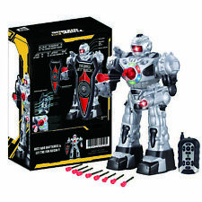 RC RoboAttack Remote Controlled Robot– Silver and Black - Fires Missiles, Talks