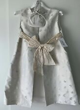 Marie Amelie Holy Communion, Bridesmaid Dress White/ Gold Butterfly + Bag Age 10