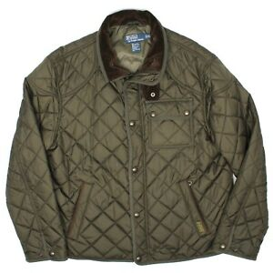 Polo Ralph Lauren Mens Quilted Jacket XL Green Brown Corduroy Collar Snap Coat