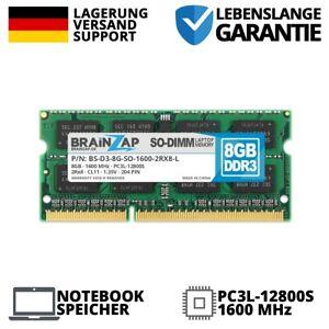8GB DDR3L RAM SODIMM DDR3L-12800S 2Rx8 1600 MHz 1.35V Laptop Low Voltage LO-DIMM