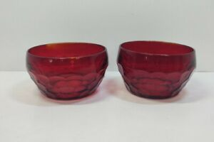 Anchor Hocking Georgian Royal Ruby Red Dessert Fruit Bowls Lot 2!