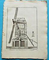1784 Estampe Eau Forte coupe vertical du Moulin à vent sur sa longueur  PL7
