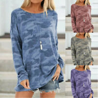 Women Long Sleeve Camouflage Tunic Tops Loose Pullover Sweatshirt T Shirt Blouse