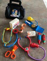 Vintage 1987 Fisher Price Black Doctor Bag Medical Kit, Nurse, Bandaids, Pretend