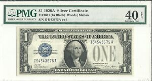 1928A DOUBLE REPEATER BLUE SEAL SILVER CERTIFICATE IN EXTREMELY FINE CONDITION.