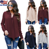 Womens Chiffon V Neck Long Sleeve Tops T Shirt OL Ladies Casual Loose Blouse Tee