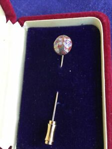 Vintage Cloisonne White, Green And Rust Stick Pin. Excellent Con