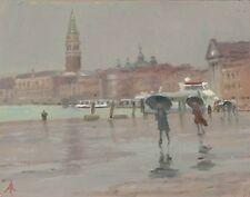 "ORIGINAL MICHAEL RICHARDSON OIL ""Wind and Rain on the Riva"" Venice  PAINTING"