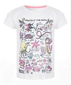 Girls White T-shirt Protect The Ocean 2-3 4-5 5-6 yrs NEW