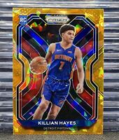 🔥2020-21 PRIZM Killian Hayes #270 Orange Cracked Ice✴️🧊Rookie RC Pistons