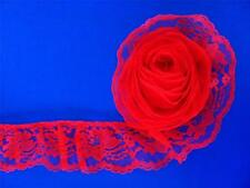 VICTORIAN RED~3 Inch Wide Ruffled Floral Lace Trim~By 5 Yards