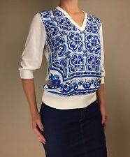 New DOLCE & GABBANA Blue Majolica Tiles Print Silk Dress Top Blouse Sweater 46