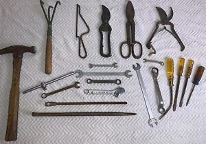 Lot of Old 20 Miscellaneous Daily Use Hand Tools.  See all Photos. Rusty USA