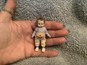 Miniature handmade MINI BABY BOY TODDLER ooak DOLLHOUSE JOINTED DOLLSHOUSE DOLL