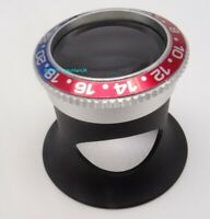 Jewellers Loupe Magnifier With RLX Style Pepsi Bezel Sapphire x3 to x15