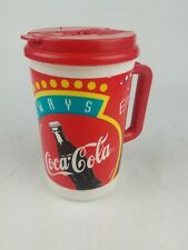 Vintage 90s Coca Cola 32 oz Whirley Thermos W/ Lid Travel Mug Cup Insulated