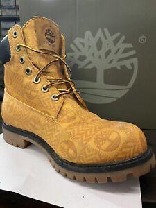 "Timberland 6"" Logo Print Boots Wheat/brown SZ 8.5 Mens"