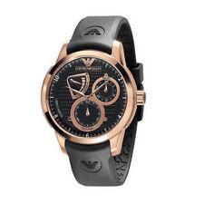 New Emporio Armani Chronograph Black Dial Silicon Strap Men's Watch AR4619