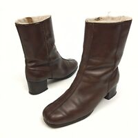 Hush Puppies Women's Winter Boots Brown Leather Size 8 W Faux Lined Zipper EUC