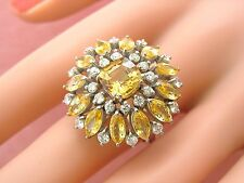 VINTAGE 7.44ctw YELLOW CUSHION SAPPHIRE DIAMOND BIG SUNFLOWER COCKTAIL RING 1950