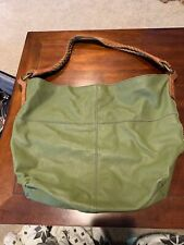 Lucky Brand Vintage Inspired Green Leather Tote Shoulder Bag Purse (TD)