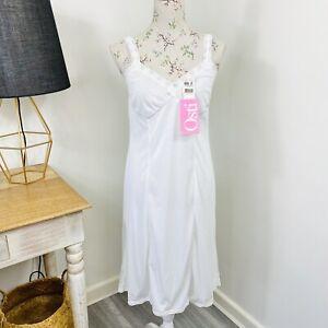 Vintage Osti Womens Slip Deadstock White Nylon Negligee Lingerie Size 12