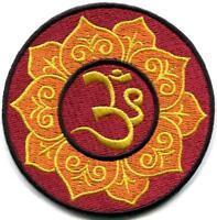 Hindu aum om infinity lotus retro yoga trance applique iron-on patch S-1104