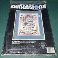 """New Vtg 1990 ATTACK CAT DIMENSIONS COUNTED CROSS STITCH KIT 12""""x16"""" VERA KLEIN"""