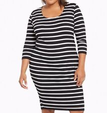 Torrid Striped Ribbed Bodycon Dress White Black 0X Large 12 0 #44326