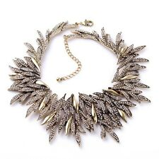 BLOGGERS FAV GORGEOUS GOLD SPIKES SPARKLING RHINESTONES STATEMENT NECKLACE NEW