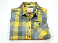 SIMMS S Fishing Button Front Short Sleeve Shirt Men Small Yellow Gray Check