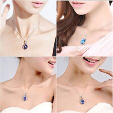 Silver Chain Crystal Rhinestone Pendant Necklace Lady Girls Jewelry Rose Red