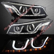 Pair Black Projector Headlights w/ LED U-Bar for 2008-2012 Accord 4dr Sedan