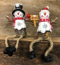 Jolly Snowmen Shelf Sitters Set of 2 Christmas Mantel Decorations 7XM386