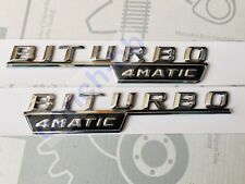 2 X BITURBO 4MATIC Chrome BADGE Emblem FOR MERCEDES AMG