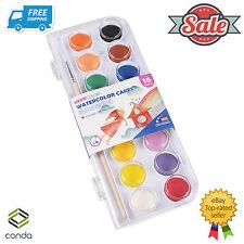 16 Color Fundamental Water Color Pan Set Non-Toxic Artist Cake Kit 1 Paint Brush