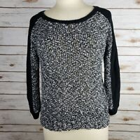 NYC Black White Textured Thin Knit Pullover Scoop Neck Sweater Womens Size M
