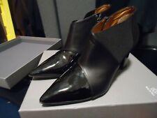 Aquatalia NWB Black Leather & Patent Leatehr Shoe Booties Boots 8.5 M