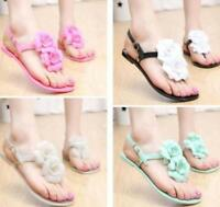 Chic Womens Camellia Flower Jelly Flats T Strap Summer Beach Sandals Shoes Size