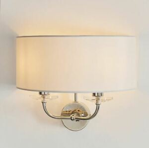 Nixon Nickel 2lt wall light with a touch of crystal & vintage white shade