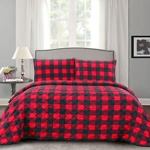 Buffalo Check Print Ultra Soft 3-Piece Quilt & Pillow Sham Set