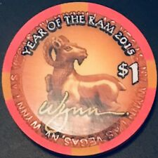 $1 Wynn Casino Chip - Chinese New Year 2015 - Ram - Las Vegas - Uncirculated