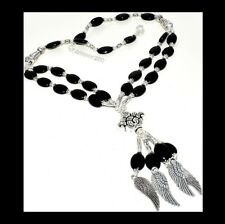 NEW - DOUBLE ROW BLACK ONYX ANTIQUE SILVER ANGEL WINGS / FEATHERS NECKLACE